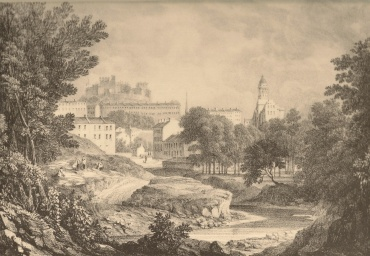 Castle and New Town from the Water of Leith before the erection of Moray Place.(1823)