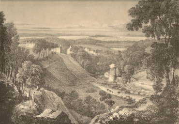 St. Bernhard's well with the Island of Inchkeith in the distance. Drawn by T. M. Baynes (1822)