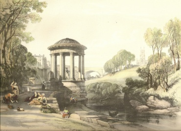 Lithograph print by W. L. Leith of St. Bernhard's Well.